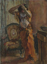 A woman dressing