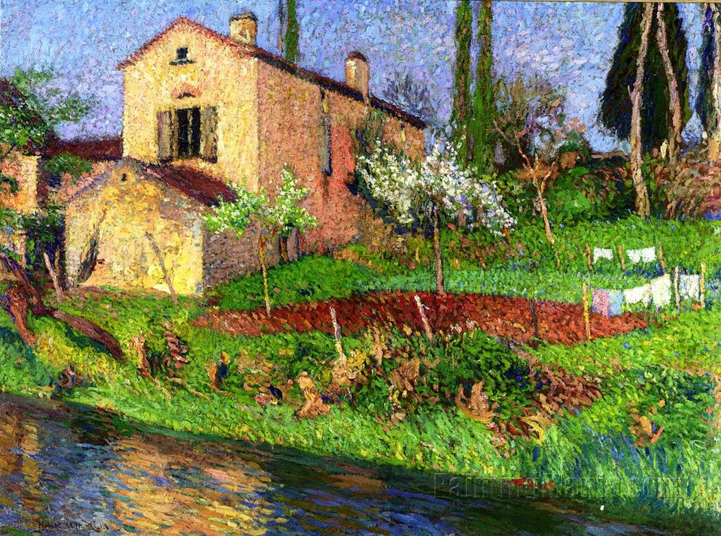 la maison de marie louise au printemps a la bastide du vert henri martin paintings. Black Bedroom Furniture Sets. Home Design Ideas