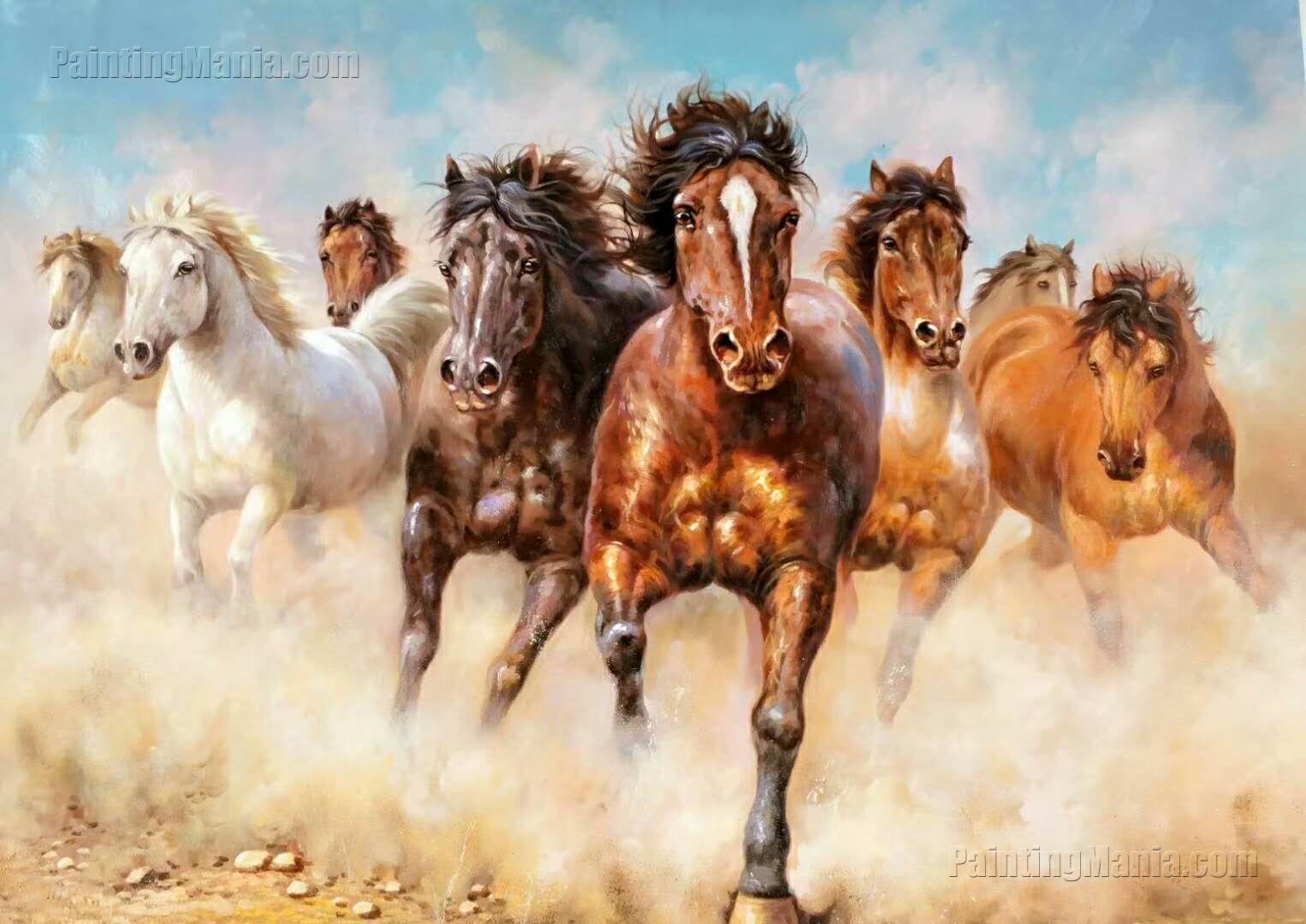 The Eight Galloping Horses Wild Horses Running Dust Horses Animals Paintings