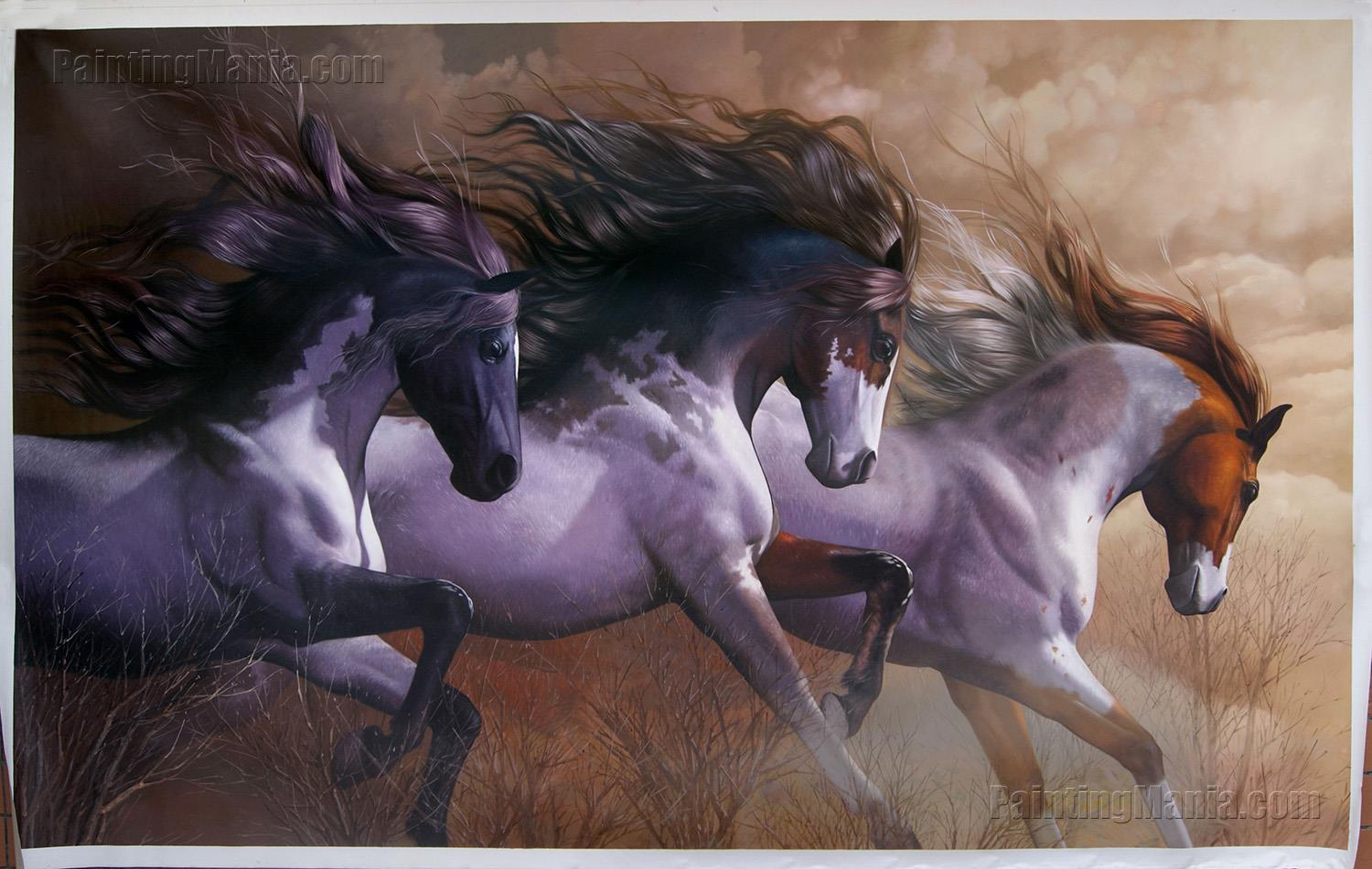 Three Wild Horses Galloping on the Prairie
