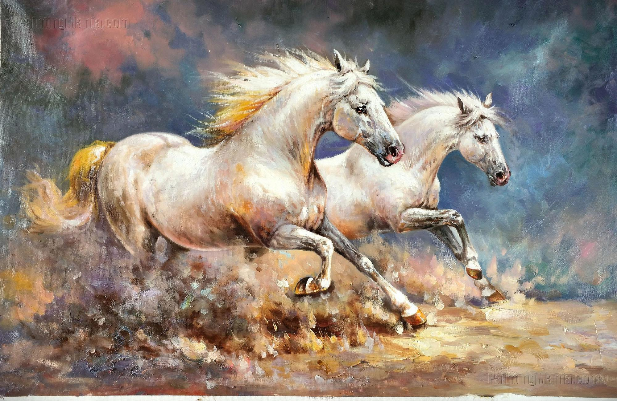 Two Galloping White Horses on the Plains