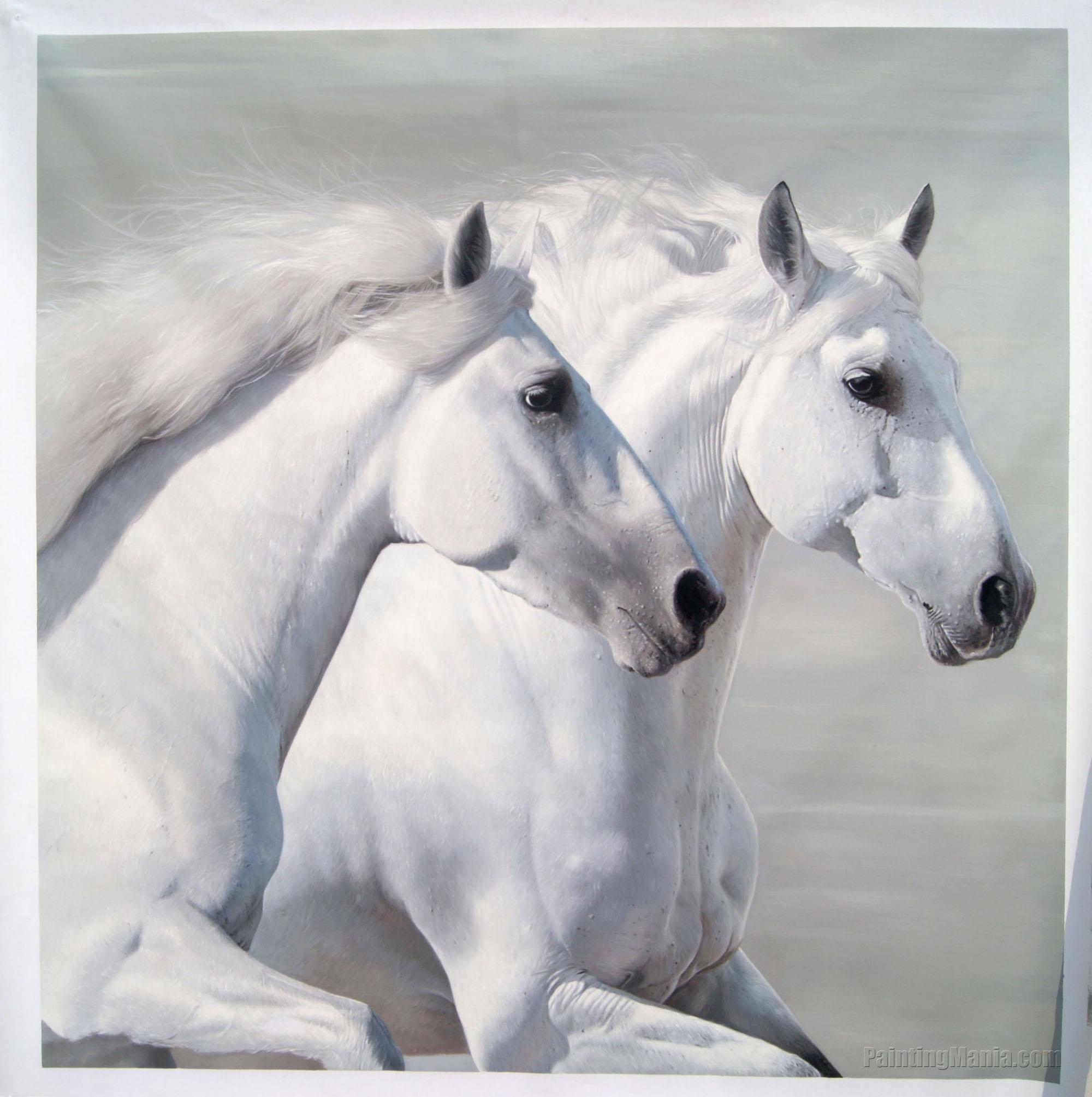 Two White Horses Horses Animals Paintings