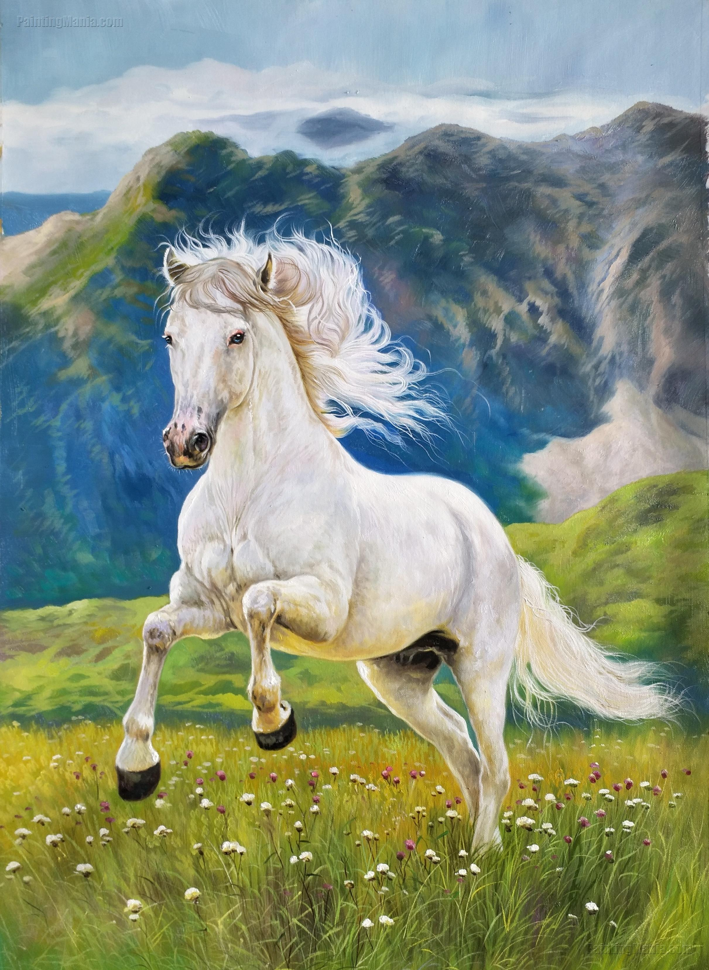 The White Horse Galloping on the Prairie