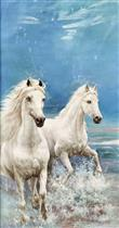 Two White Horses Galloping along the Sea Beach