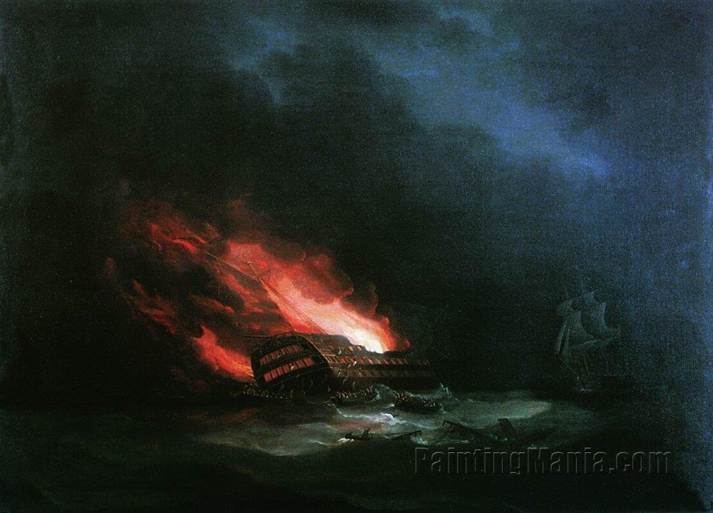 Burning Ship (the Episode of the Russian-Turkish War)