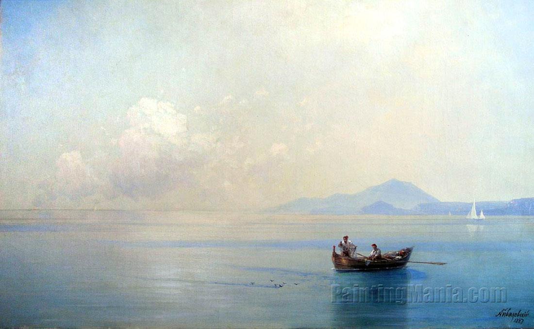Calm Sea. Landscape with Fishermen