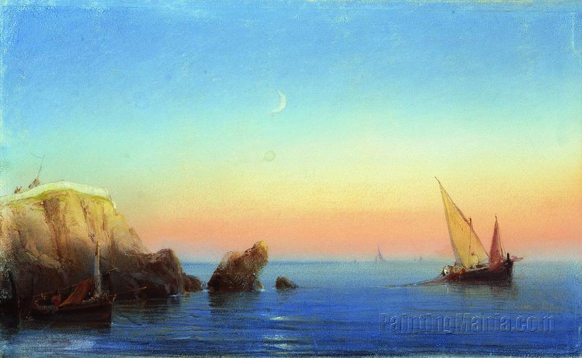Calm Sea. Rocky Coast