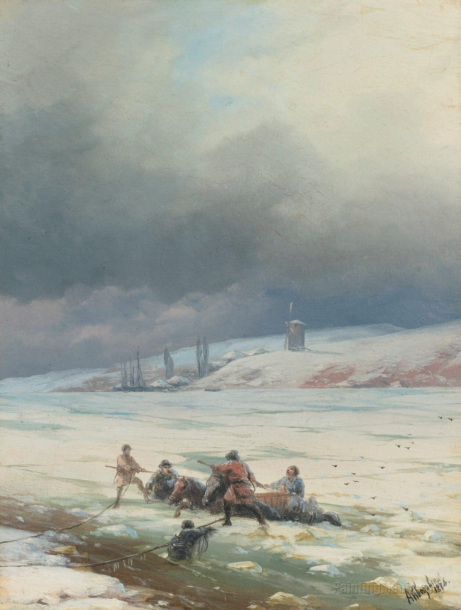 Hauling A Horse and Cart out of Ice