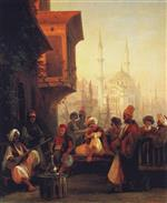 Coffee house by the Ortakoy Mosque in Constantinople