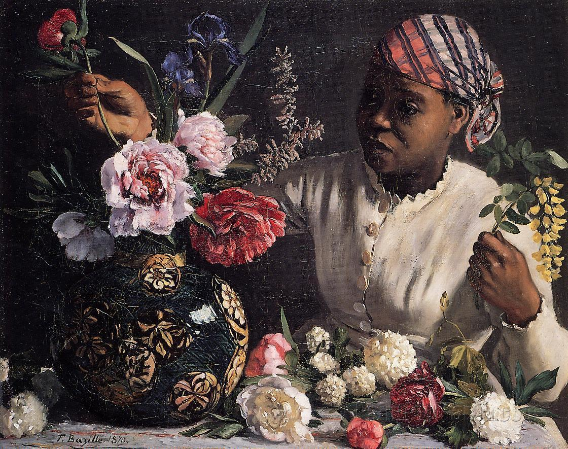African Woman with Peonies