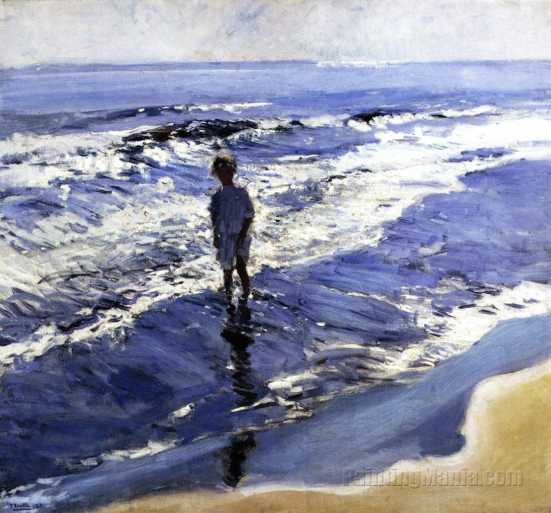 Young Girl in a Silvery Sea