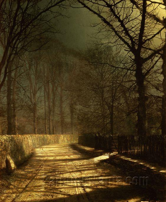 A Moonlit Lane with Two Lovers by a Gate