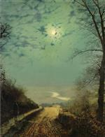 A Wet Road by Moonlight, Wharfedale