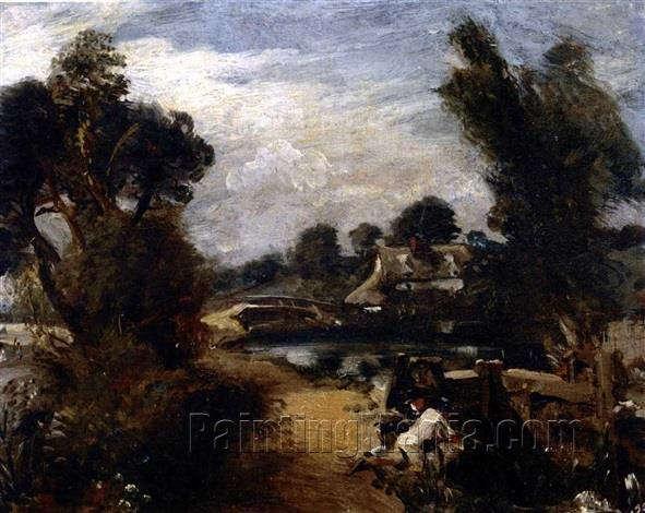 Boys Fishing on the River Stour