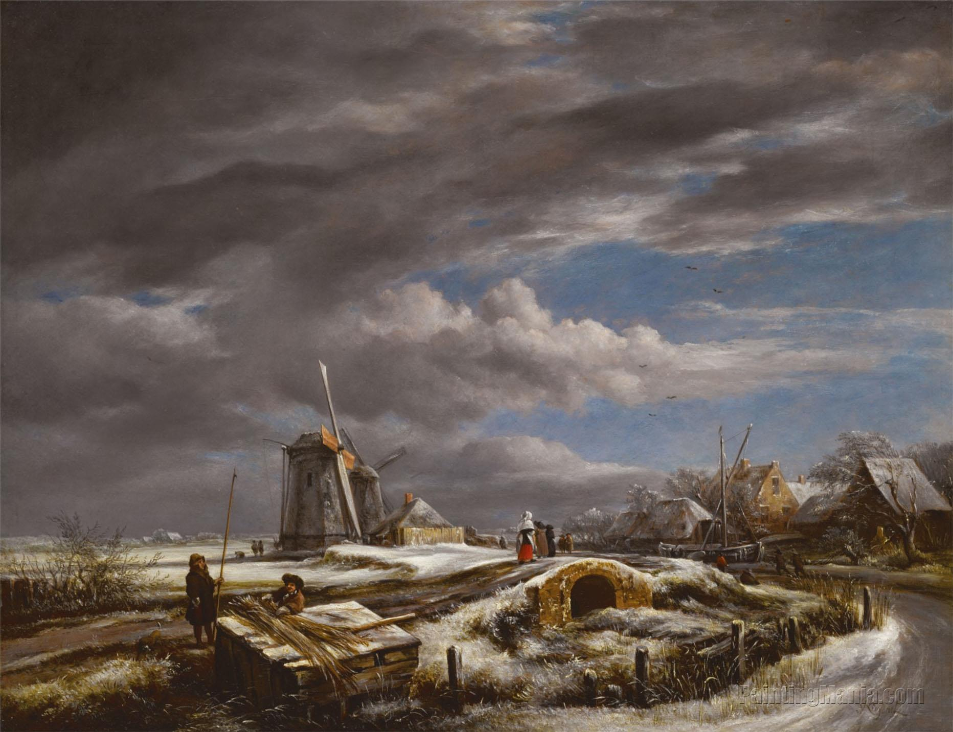 A Winter Landscape with Figures on a Path, A Footbridge and Windmills Beyond