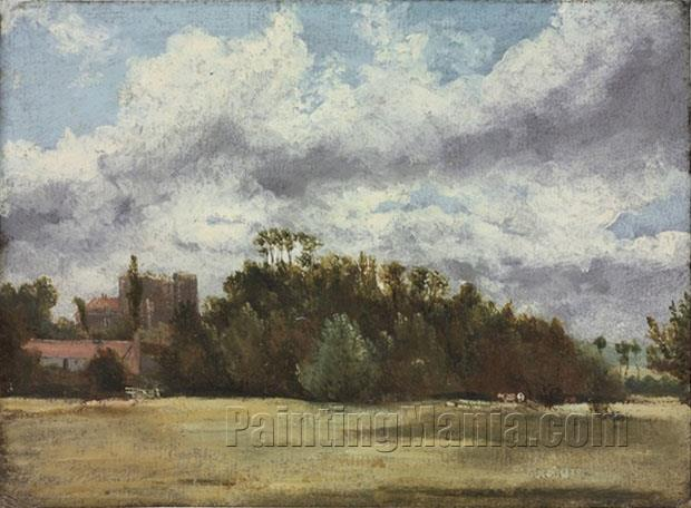 A Wooded Landscape with Cattle, Buildings to the Left