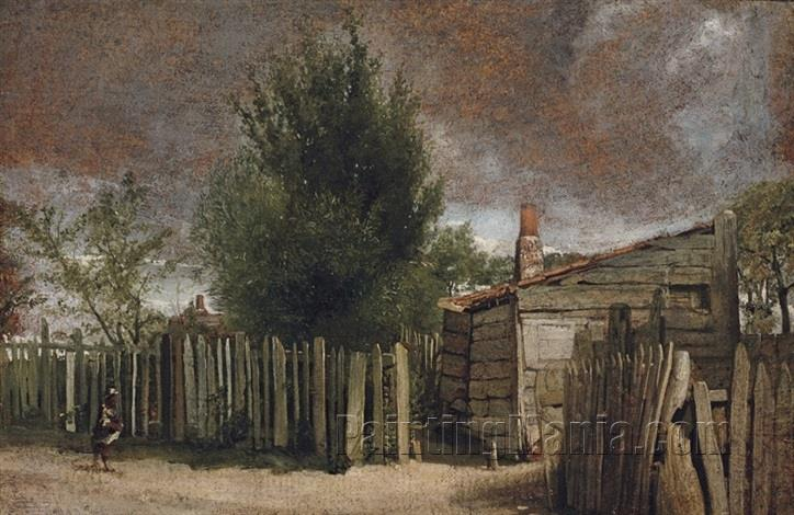 A Wooden Building with a Figure by a Fence