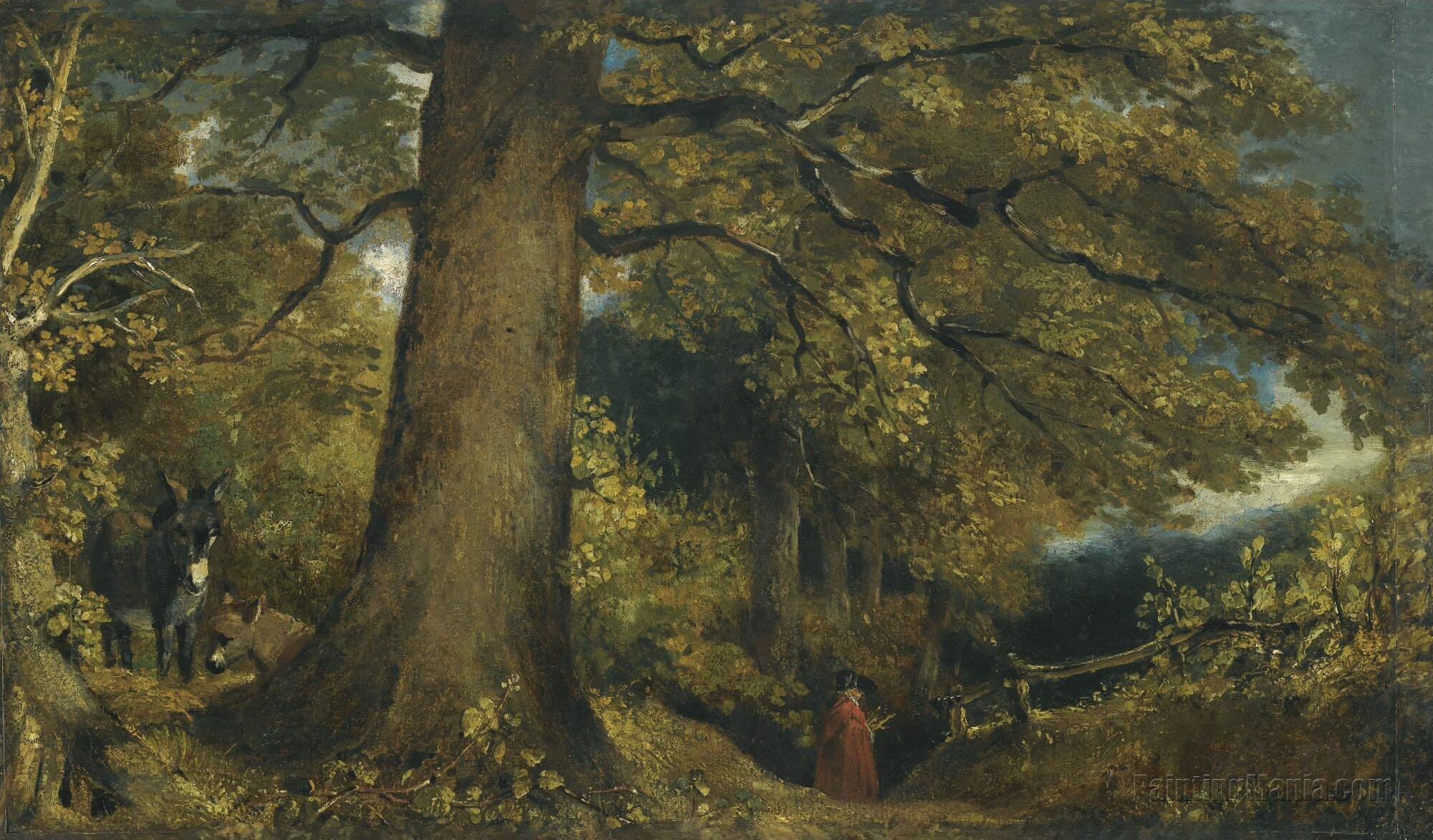 A Young Girl in a Woodland Landscape