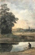 Figure Seated with His Dog by the Edge of a River
