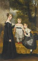 A Group Portrait of the Barker Children in a Landscape