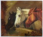 'Three members of the Temperance Society': Three Horses at a Drinking Trough