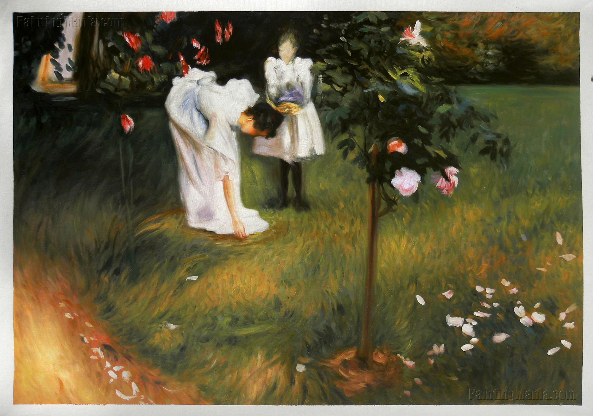 Garden Study with Lucia and Kate Millet (Mrs. Sylvester Baxter Picking Roses)
