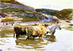 A Horse and Two Oxen at a Ford (Oxen Crossing a Ford)
