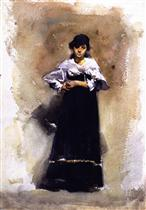 Young Woman in a Black Skirt