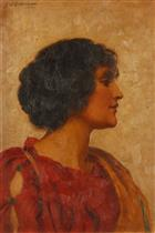 A Classical Beauty in Profile 1914