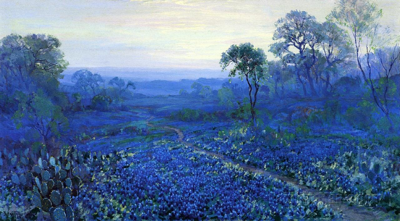 Bluebonnet Landscape with Catci, Road and Mountain Laurel