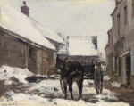 A Donkey and Cart at a Farmhouse in Winter