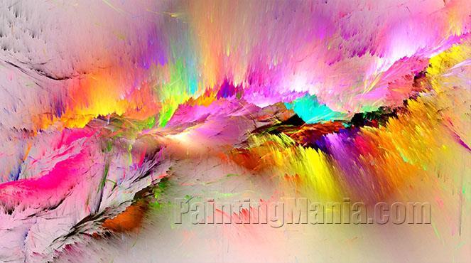 Vibrant Sunlit Mountain Range Landscape