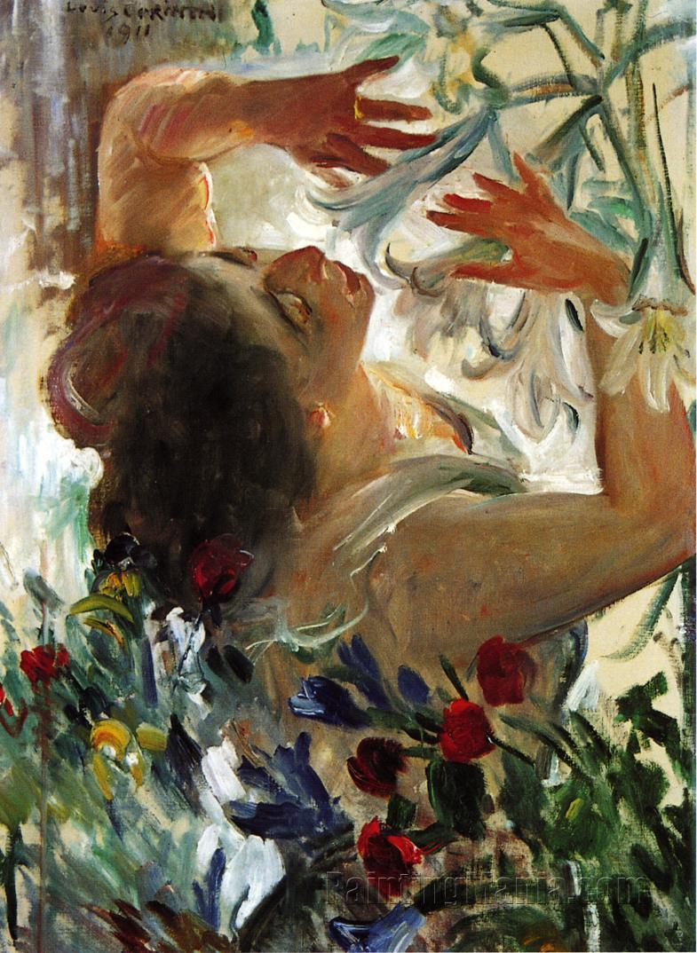 Woman with Lilies in a Greenhouse