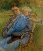 Mathilde Holding a Baby Who Reaches out to the Right