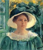 Young Woman in Green, Outdoors in the Sun