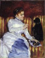 Young Woman on a Striped Sofa with Her Dog