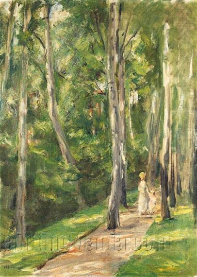 Alley of Birches in the Wannsee Garden to the West - Max Liebermann ...