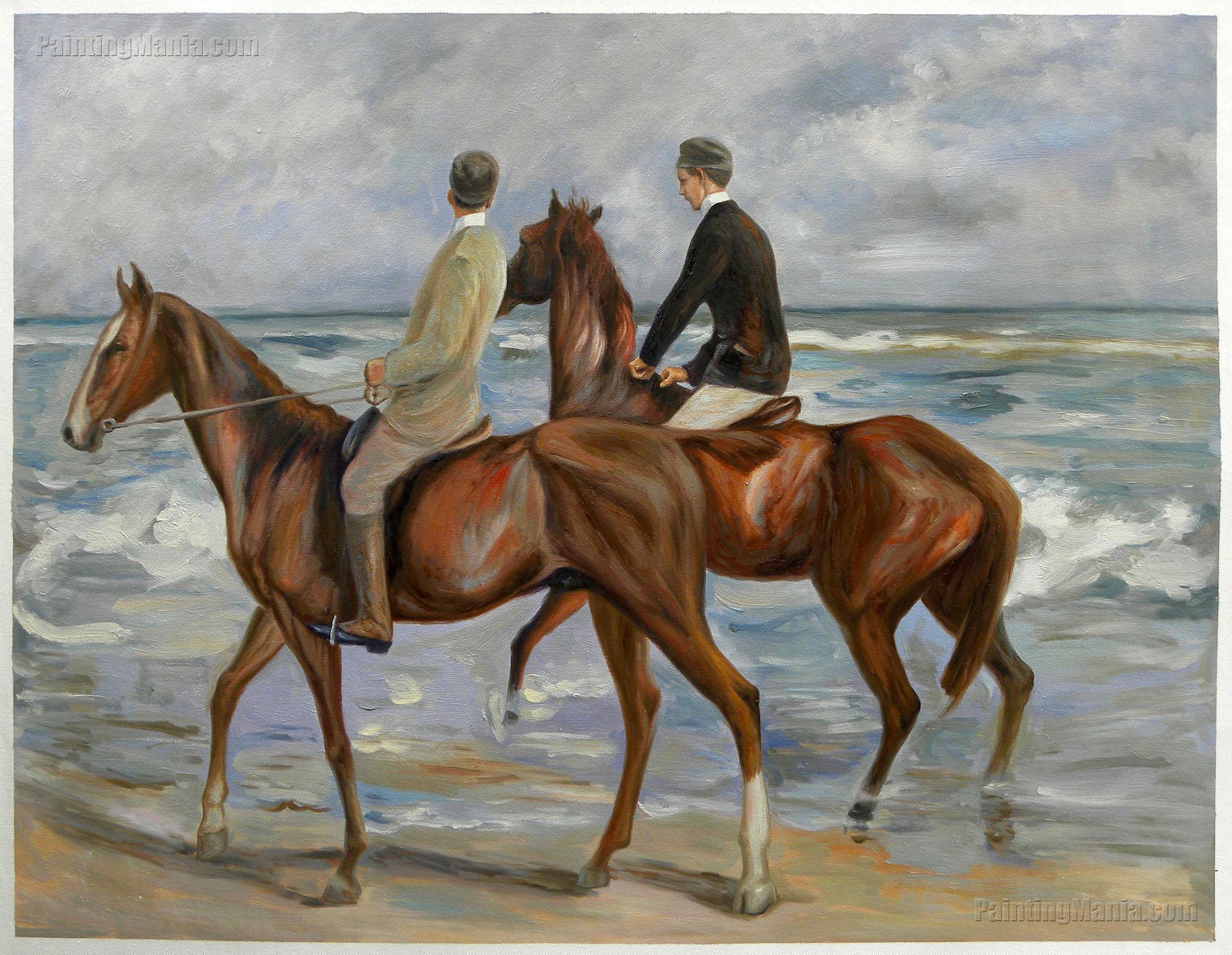 Zwei Reiter am Strand nach links (Two Riders on a Beach)