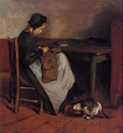 Girl Sewing with Cat - Dutch Interior