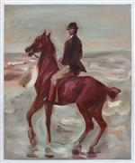 Horseback Rider on the Beach, Facing Left 1900