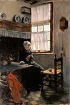 A Young Woman Knitting in an Interior