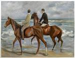 Zwei Reiter am Strand nach links (Two Riders on a Beach)