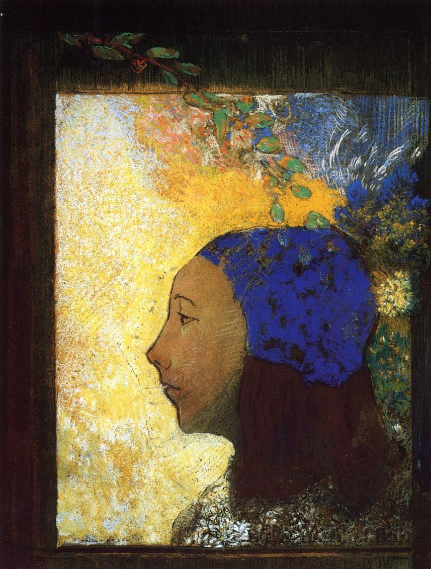 Young Girl in a Blue Bonnet