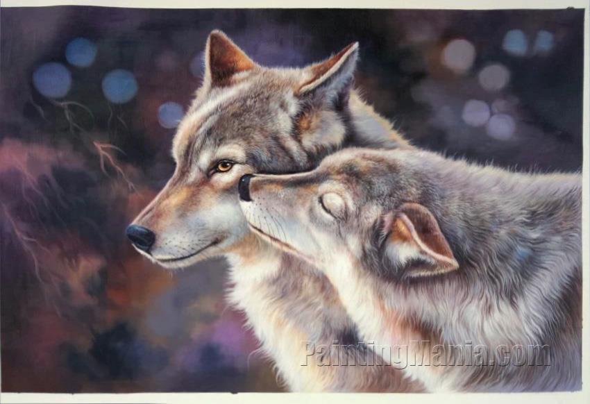 Wolf Couple in Love Portrait