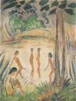 Five Bathers in a Lake Landscape