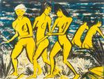 Five Yellow Nudes by the Water