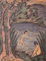 Sitter and Bathers with Two Trees