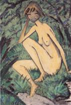 Sitting Nude in Landscape (Sitzender Akt in Landschaft)