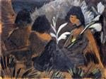 Three Sitting Gypsy Girls in the Forest