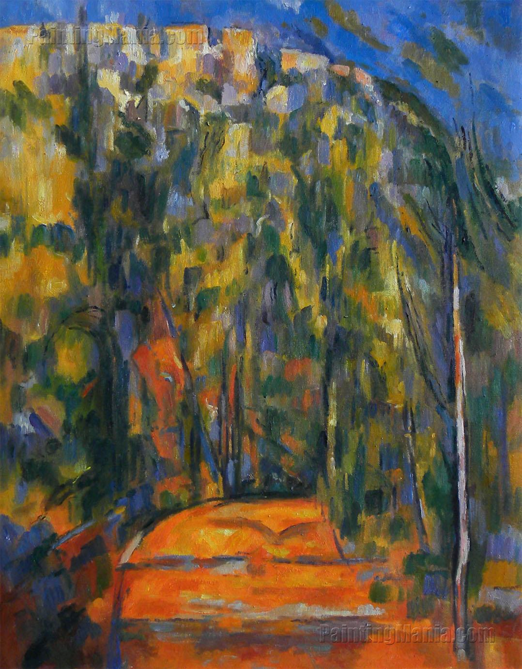 bend in the forest road route tournante en sous bois paul cezanne paintings. Black Bedroom Furniture Sets. Home Design Ideas